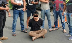 >> Pelaku digiring ke Mapolresta Manado.