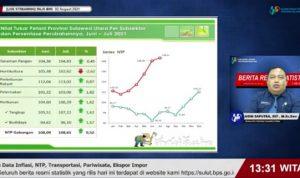 >> Kepala BPS Sulut, Asim Saputra saat menyampaikan perkembangan NTP lewat streaming Youtube, Senin (2/8) siang.